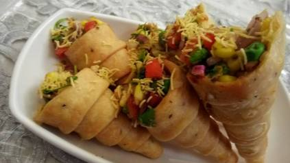 Veggie Corn Chaat in a Cone Recipe