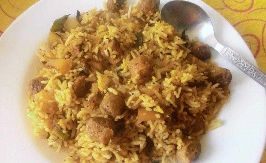 soya chunks fried rice