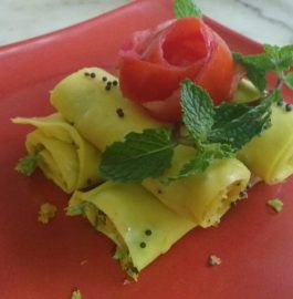 Khandavi In Microwave With a Twist - Yummy