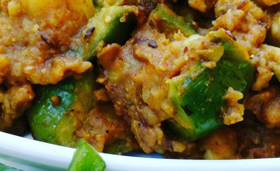 Baked Capsicum With Potato Stuffing Recipe