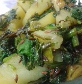 Spinach Potato Fry Recipe