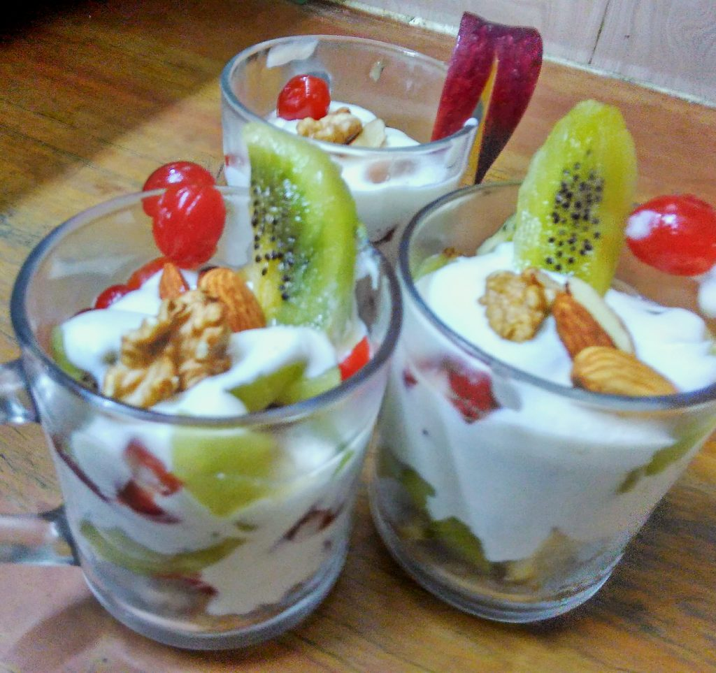 Fruits And Curd Pudding Recipe