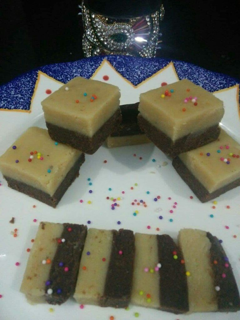 Two Layered Chocolate Barfi Recipe