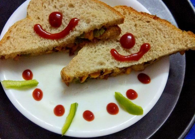 Corn Capsicum Mayo Sandwich Recipe