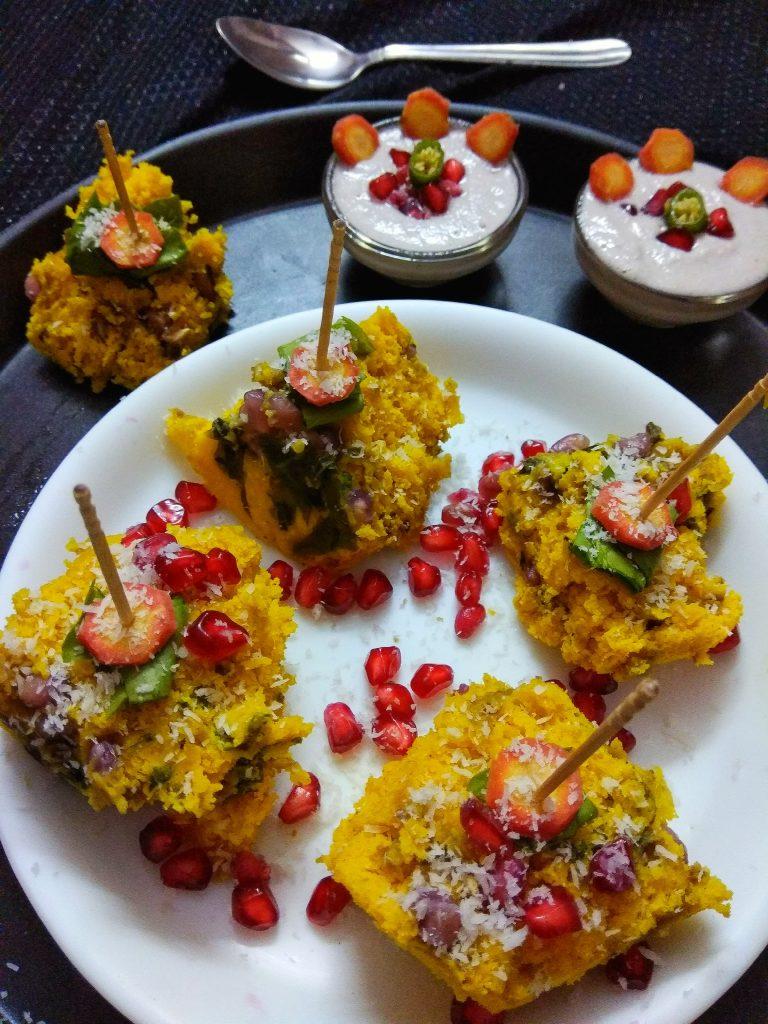 Spinach Pomegranate Dhokla Recipe