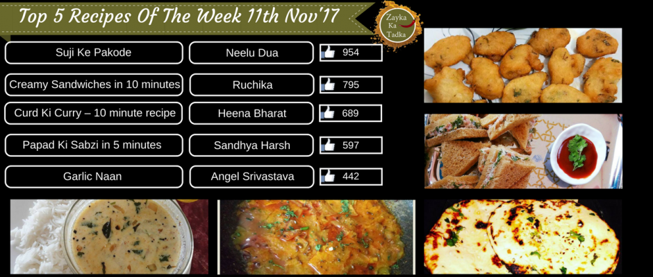Top 5 Recipes Of The Week 11th November 2017