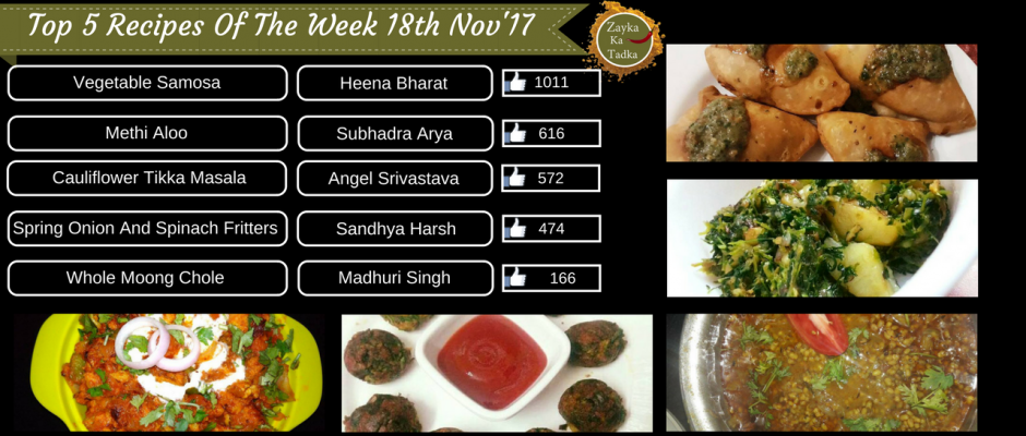 Top 5 Recipes Of The Week 18th November 2017