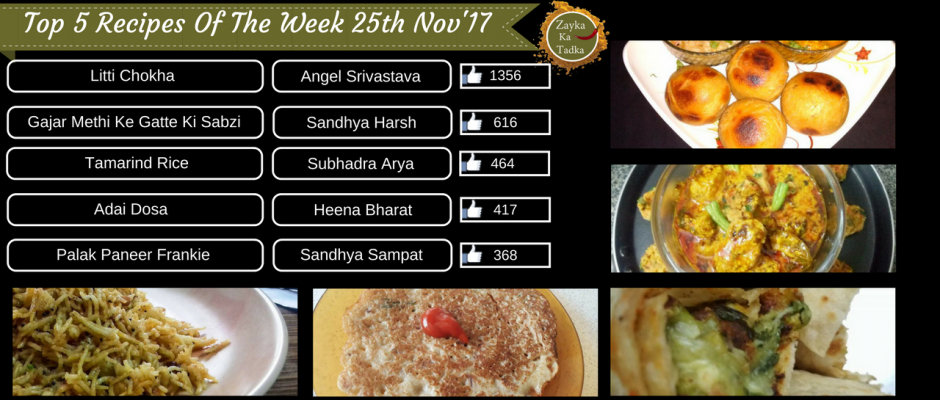 Top 5 Recipes Of The Week 25th November 2017