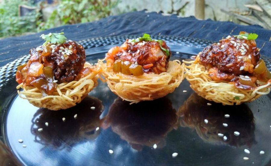 Manchurian In Noodles Nest Recipe