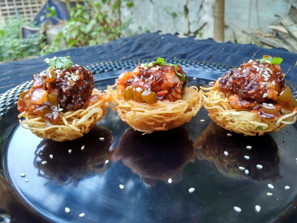 Manchurian In Noodles Nest Recipe