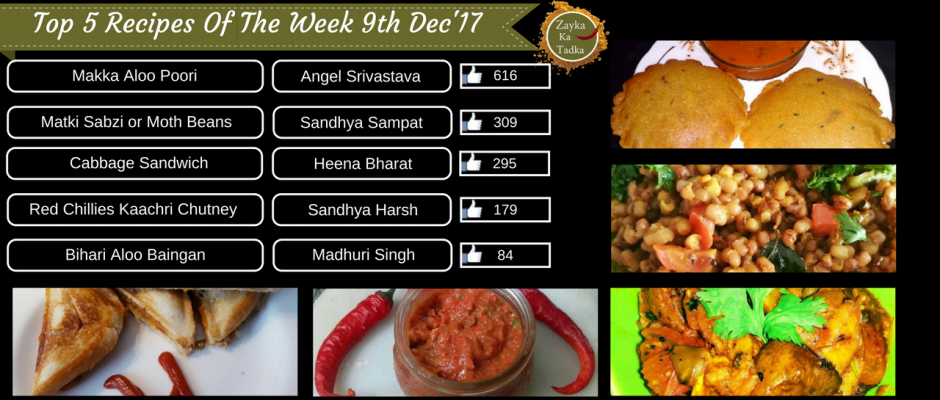 Top 5 Recipes Of The Week 9th December 2017