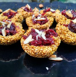 Beetroot Halwa In Til Canape Recipe