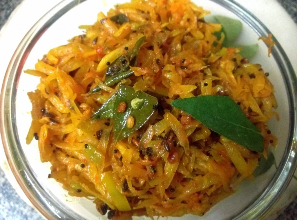 Raw Papaya Sambharo Recipe