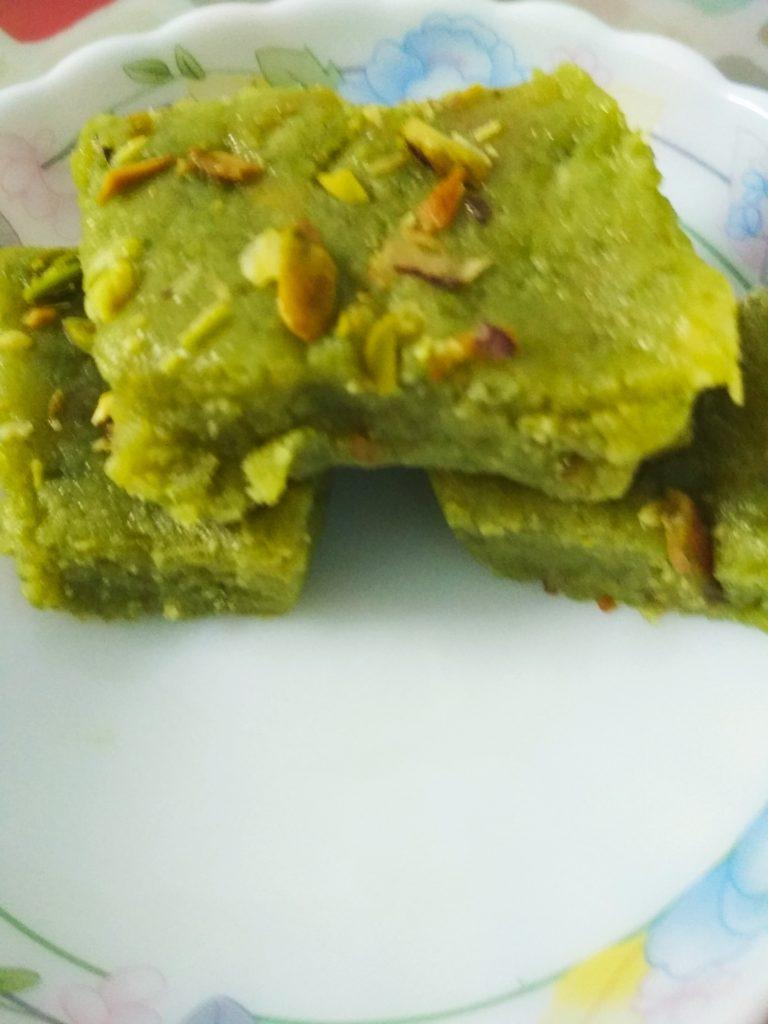 Green Peas And Pista Burfi Recipe