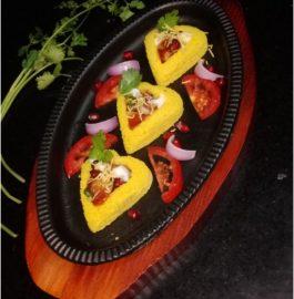 Dhokla Hearts With Potato Chaat Recipe