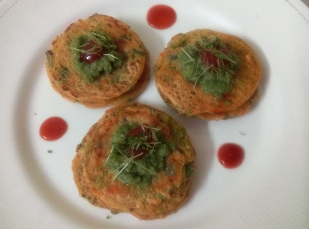 Oats Sooji Besan Mini Pancakes Recipe